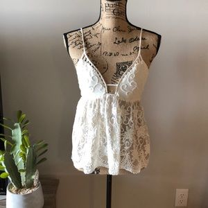 LF Stores Millau sexy white crochet lace top NWOT